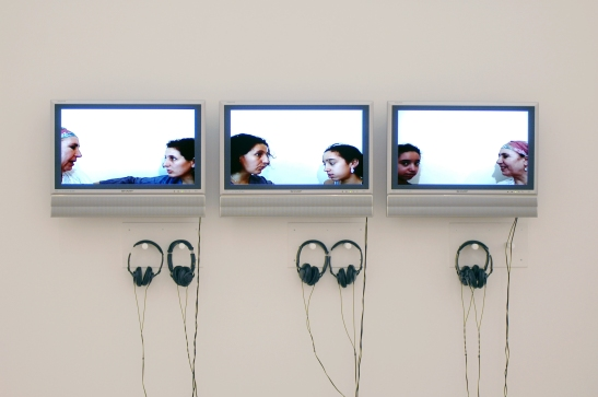 Zineb Sedira, Mother Tongue, 2002, A - Mother and I (France), B – Daughter and I (England), C – Grandmother and Granddaughter (Algeria), video-projections on screens, 5 min (each. video) © Zineb Sedira. Courtesy the artist and kamel mennour, Paris