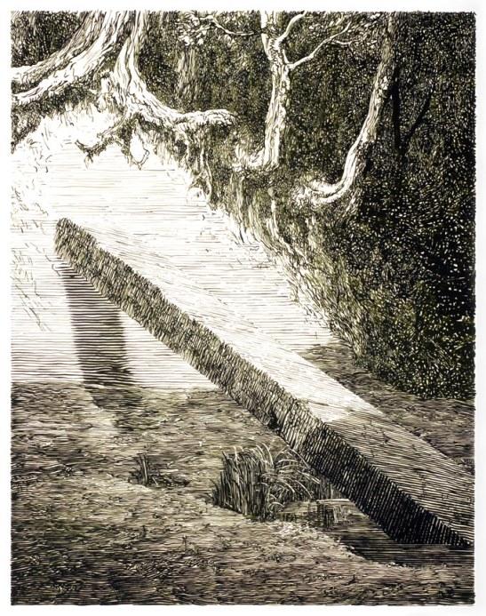 Daniel Arsham, Monolith (Green), 2007, Gouache sur papier calque, encadrement / Gouache on mylar, frame107 x 85,5 x 4 cm / 42 1/4 x 33 3/4 x 1 1/2 inches. Courtesy Galerie Perrotin, Hong Kong & Paris