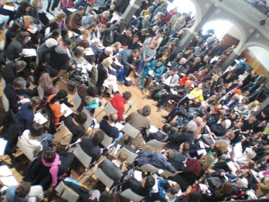 7th Berlin Biennial press conference, from Occupy BB7 website. http://occupybb7.org/node/121.