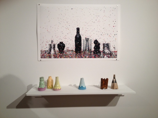 "Brian Giniewski, Flux and Flurry, digital print on archival paper, 20""x30"". Brian Giniewski, Garnish, 2013, ceramic. Installation view. Image courtesy of Erin Dziedzic"