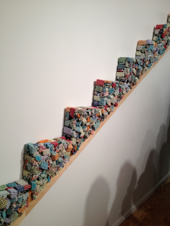 Michael Fujita, Rise/Run, 2010, wood, carpet padding, resin, ceramic. Image courtesy of Erin Dziedzic