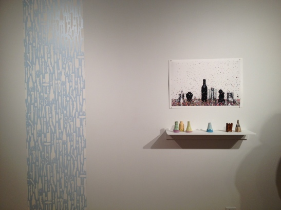 Right: Brian Giniewski. Left: Dan Funderburgh, City Park, 2007, wallpaper. Installation view. Image courtesy of Erin Dziedzic