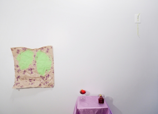 Amanda Friedman and Laura Hunt, THE ALFRED JENSEN PAINTING AT BELLEVUE HOSPITAL, Spare Room Projects, Brooklyn, NY. Installation view. Image courtesy of Jackie Klempay