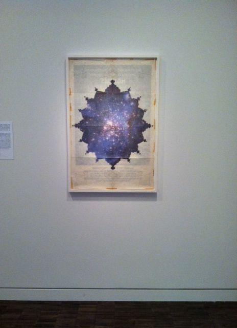 Ala Ebtekar, The Shape of Things to Come, 2012, acrylic on archival pigment print on found paper.  Image by Monica Shinn
