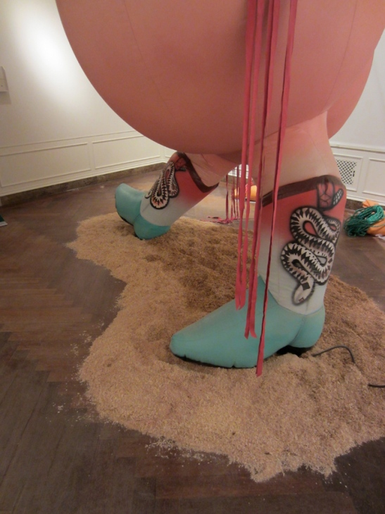 Nancy Davidson, Let 'er Buck, 2013, detail, vinyl coated nylon, paint, rope, metal, sand, sawdust, blower, 132 x 120 x 120 inches.