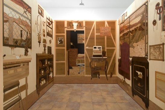 Alison Elizabeth Taylor, Room, 2007-08, Wood veneer, pyrography, shellac, 96 X 120 X 96 inches Courtesy of The Artist / Courtesy James Cohan Gallery, New York/Shanghai