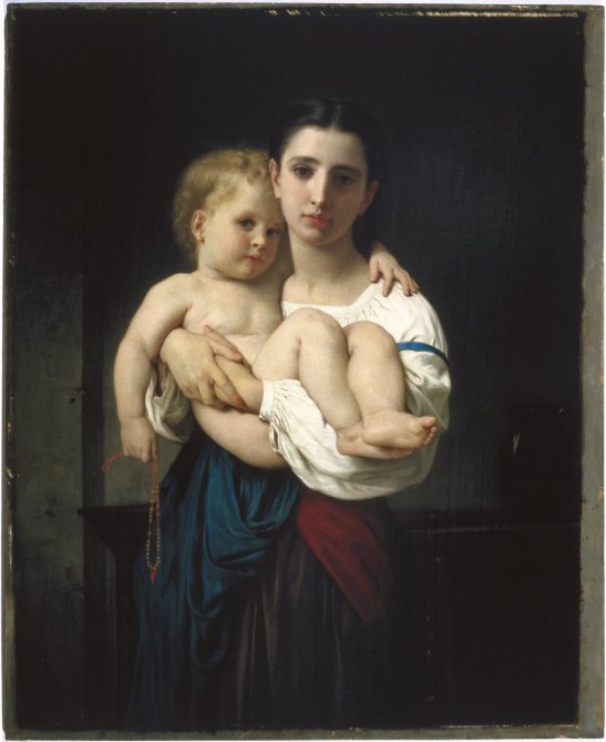 William Bouguereau (French, 1825-1905). The Elder Sister, reduction (La soeur aînée, réduction), ca. 1864. Oil on panel, 21 7/8 x 17 15/16 in. Brooklyn Museum, Bequest of William H. Herriman. Brooklyn Museum photograph, 2010.