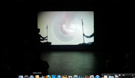 Nene Humphrey, CTC Performance Still Dixon Place 3. 2013, video projection from audience view.