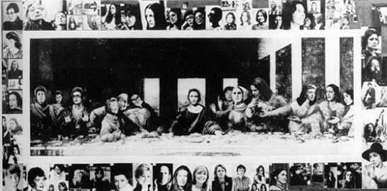 "Mary Beth Edelson Some Living American Women Artists / Last Supper 1971. ""WACK! Art and the Feminist Revolution"" at the Museum of Contemporary Art, Los Angeles"