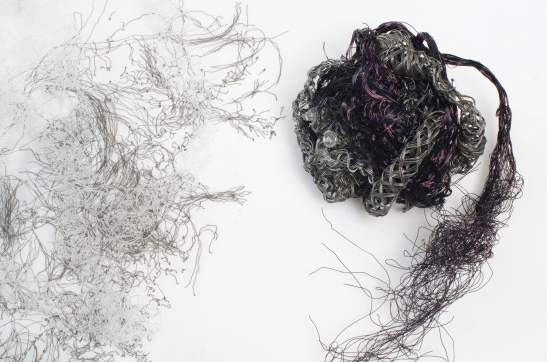 Nene Humphrey, Heart Weeps: Detail, 2013, spherical Victorian mourning braids made with wire, crystal teardrops, thread, neuroscience based drawing, 18 x 18 x4 inches container.