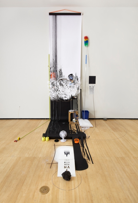 Sarah Sze, Random Walk Drawing (Eye Chart), 2011, Mixed media, Courtesy of the artist and Tanya Bonakdar Gallery, New York. Photo courtesy of Tom Powel.
