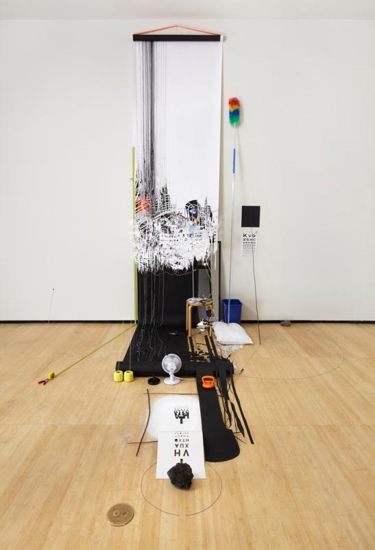 Sarah Sze, Random Walk Drawing (Eye Chart), 2011, Mixed media, Courtesy of the artist and Tanya Bonakdar Gallery, New York. Photo courtesy of Tom Powel.