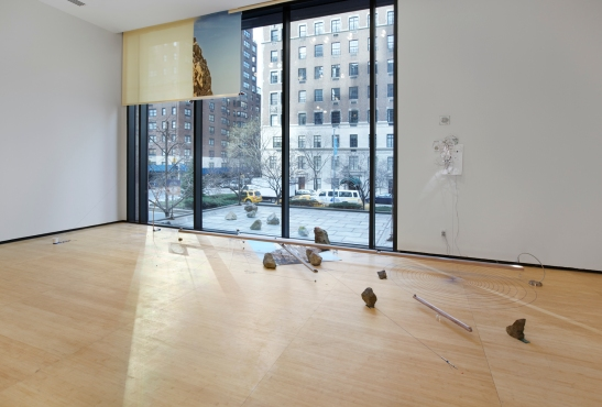 Sarah Sze, Random Walk Drawing (Window), 2011  Mixed media, Courtesy of the artist and Tanya Bonakdar Gallery, New York. Photo courtesy of Tom Powel.