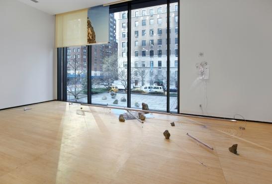 Sarah Sze, Random Walk Drawing (Window), 2011  Mixed media, Courtesy of the artist and Tanya Bonakdar Gallery, New York. Photo courtesy of Tom Powel.