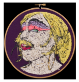 "Aubrey Longley-Cook, Lavonia Elberton: Frame 3 (Back View), 2013, 7"" Diameter Set, Thread on Fabric. Image courtesy the artist and Barbara Archer Gallery."