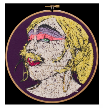 """Aubrey Longley-Cook, Lavonia Elberton: Frame 3 (Back View), 2013, 7"""" Diameter Set, Thread on Fabric. Image courtesy the artist and Barbara Archer Gallery."""